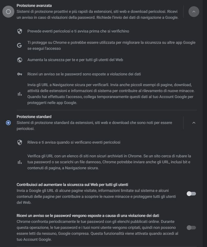 google chrome 88 protezione standard