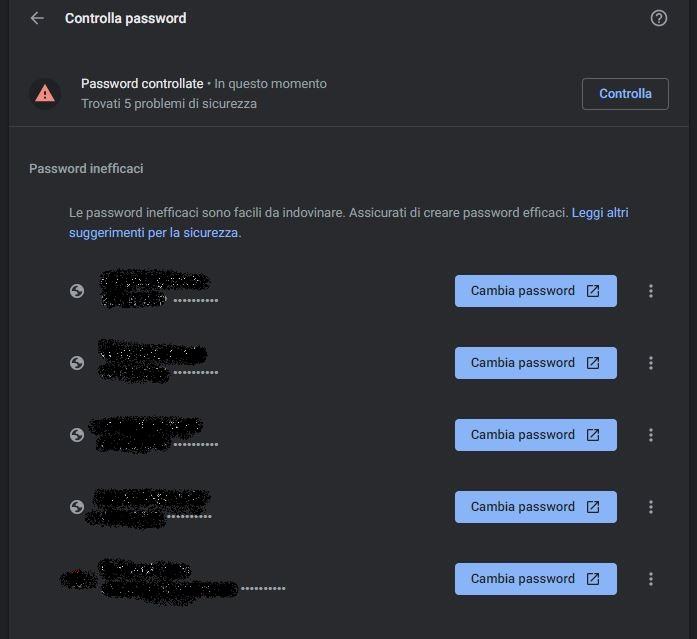 google password controllo